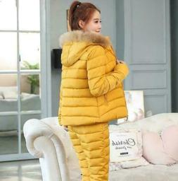 2Pcs Winter Womens Down Sets Quilted Hooded Jackets Fur Coll