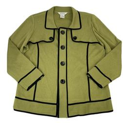 Exclusively Misook Button-Down Jacket Women's Size XL Gree