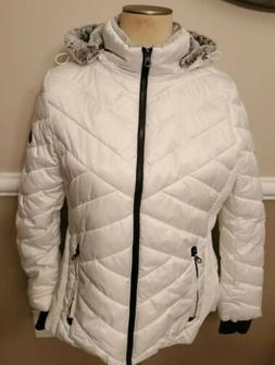Nautica Ladies' White Puffer Jacket With Removable Fur Lined