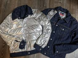 NWT Levi's Allied 700 Down Denim Reversible Silver Lined Puf