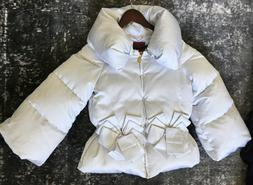 RARE WOMENS MONCLER GAMME ROUGE WHITE DOWN Silk JACKET PUFFE