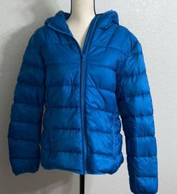 Wantdo Size L Womens Blue Down Jacket Full Zip Hood Quilted