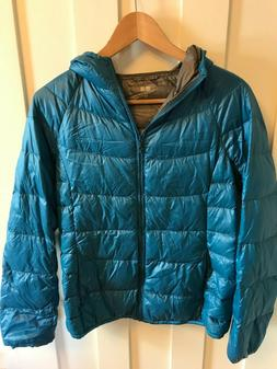 size s blue down feather quilted packable
