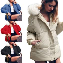 Women Ladies Bubble Hooded Coat Quilted Puffer Fur Down Park