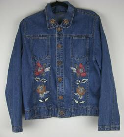 Ikon Clothing Women's Denim Jacket Cotton Embroidered Floral