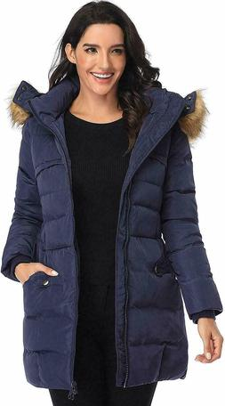 Epsion Women's Hooded Thickened Long Down Parka Puffer Jacke