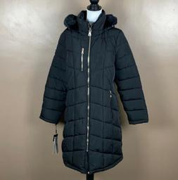 Calvin Klein Women's Quilted Hooded Puffer Long Jacket Coat
