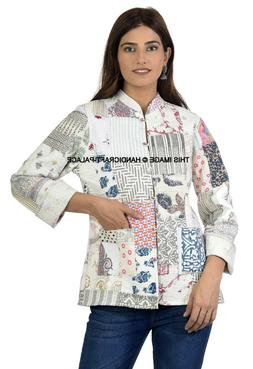 Women's Reversible Quilted Patchwork Jacket White Button Dow