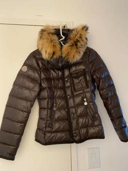 MONCLER Womens ARMOISE Down Jacket Brown with Fur Hood. Size