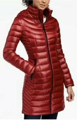 Calvin Klein Womens Down Quilted Hooded Packable Puffer Jack