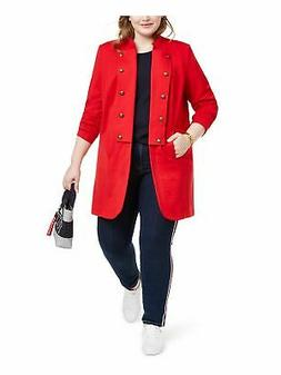TOMMY HILFIGER Womens Red Button Down Jacket Plus Size: 3X